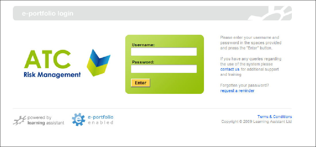 Health and Safety NVQ ePortfolio Login Screen