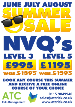 Summer sale special offers on health and safety NVQ qualifications